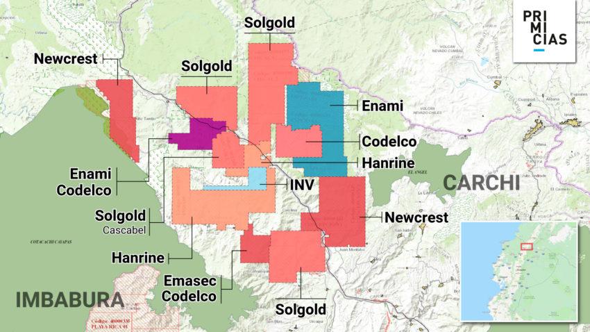Estos son los bloques mineros ubicados en Imbabura y Carchi