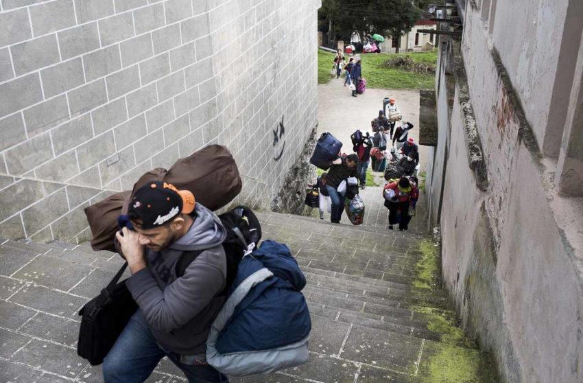 Un momento del recorrido de migrantes venezolanos