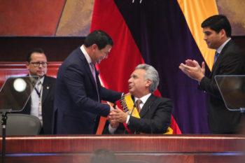 El presidente Moreno durante el informe a la Nación, el 24 de mayo de 2019.