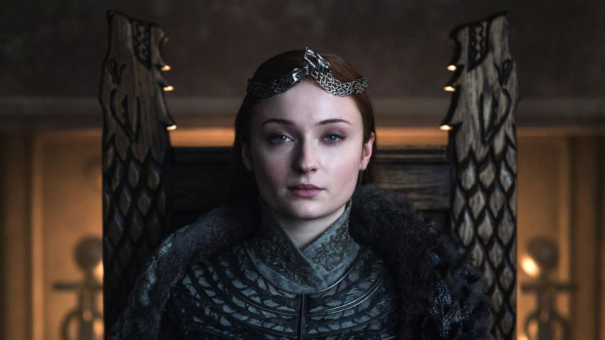 Fotograma cedido por el canal HBO donde aparece Sophie Turner como Sansa Stark, durante una escena del último episodio de la serie