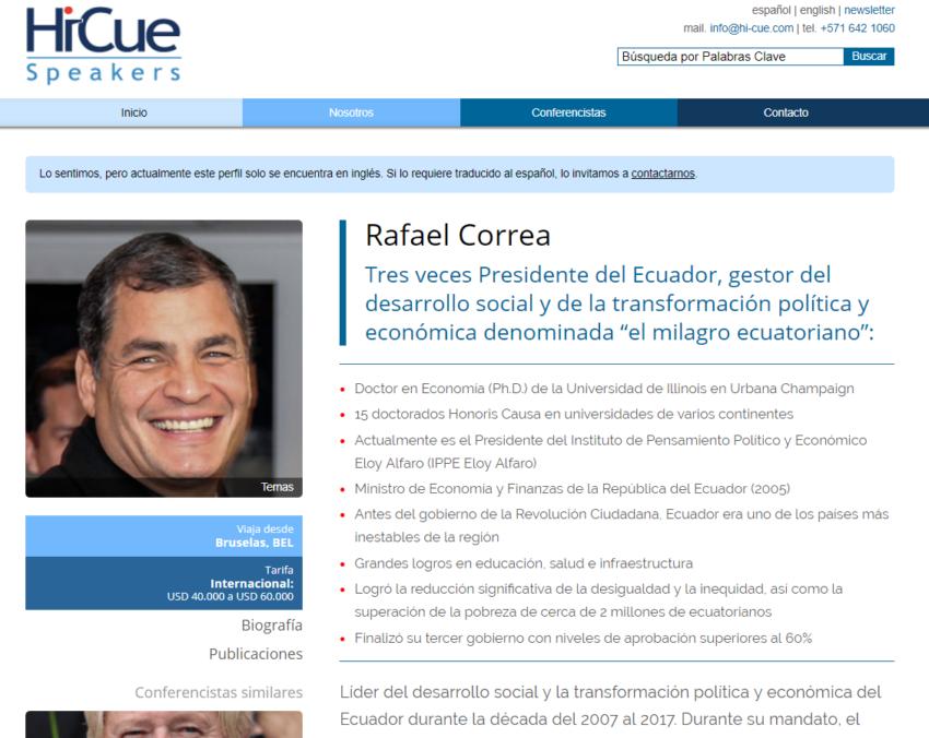 Perfil de Rafael Correa en la página de HiCue Speakers.