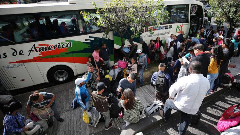 Venezolanos que retornaron a su país. en febrero de 2019.