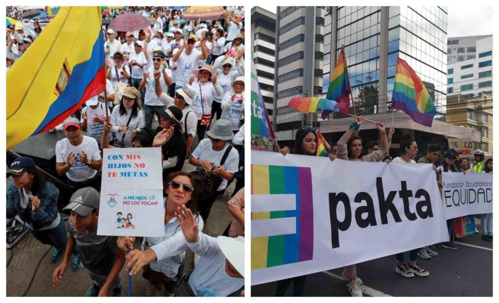 Ecuador vive jornadas de marchas de grupos conservadores y colectivos GLBTI
