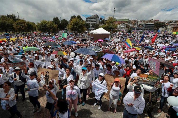 El punto de concentración de grupos Pro Vida fue en el parque del Arbolito, en Quito.