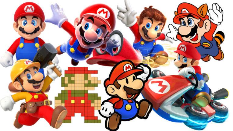 Ocho versiones del personaje de videojuegos Mario Bros