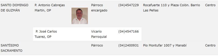 Cargo de Vicario Parroquial de José Tuárez