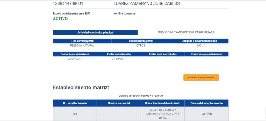 Registro Único de Contribuyentes de Tuárez en el SRI