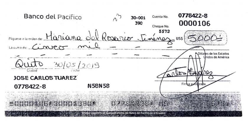 El cheque que el cura José Tuárez entregó a la señorita Jiménez.