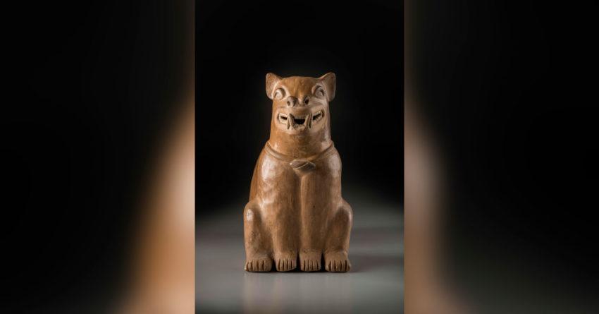 Botella silbato en forma de perro Cultura Bahía (300 a.C-400 d.C) Cerámica