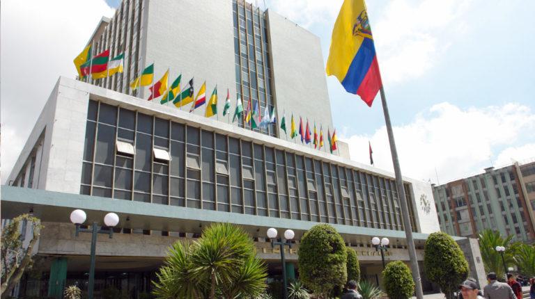 Fachada del edificio del Banco Central del Ecuador, en Quito.