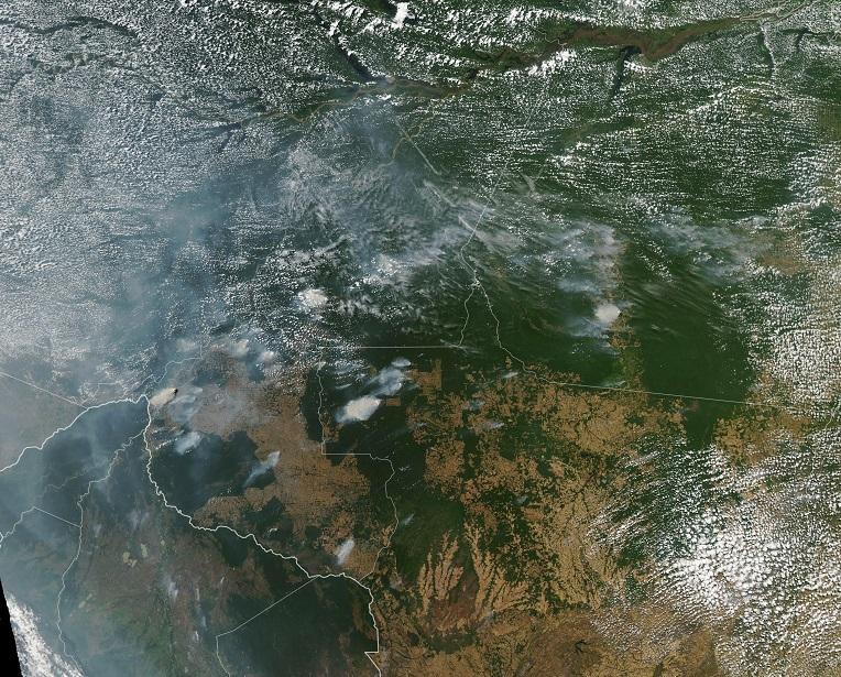 Imagen satelital de la NASA sobre los incendios forestales que han destruido 2.254 kilómetros cuadrados hasta julio en Brasil.