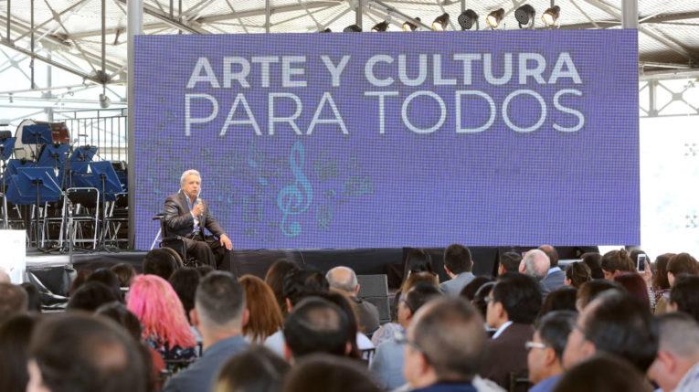 El presidente Lenín Moreno durante la presentación de incentivos a artistas, el pasado 7 de agosto.