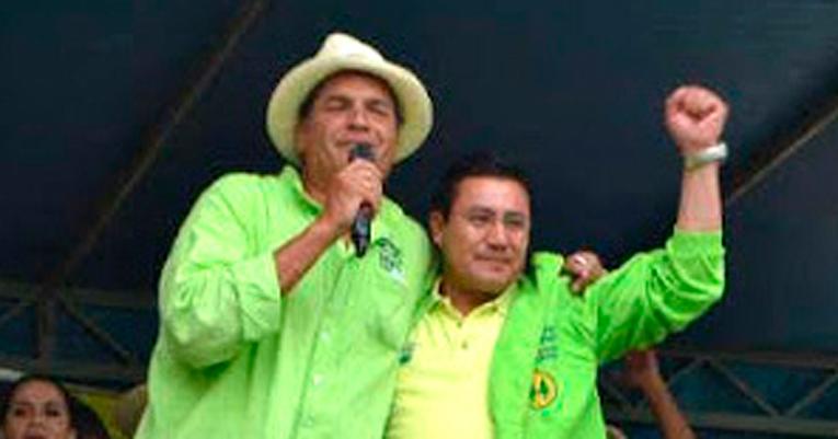 El expresidente Rafael Correa y Aucay, en plena campaña electoral.
