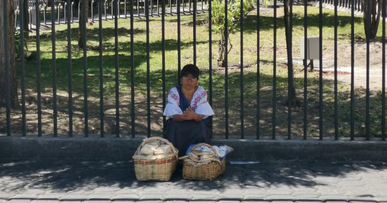 Una vendedora ambulante se refugia del sol en la Avenida Amazonas y calle Colón, en el centro norte de Quito.