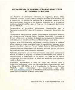 Declaración de institucionalización de Prosur, firmada en Nueva York, el 25 de septiembre de 2019.