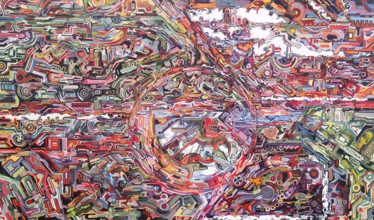 Detalle de 'Electroencefalograma de Gursky', 2014. Acrílico sobre tabla.