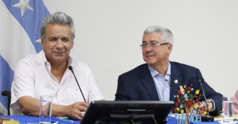 Lenín Moreno y Eduardo Jurado en Milagro, el 8 de junio de 2018.