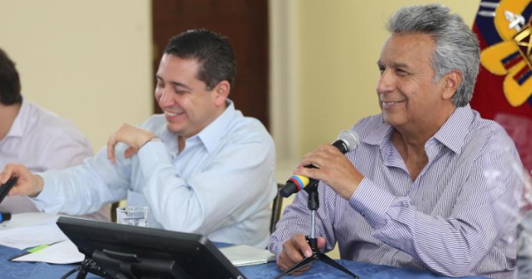 Eduardo Mangas y Lenín Moreno, en Santa Rosa, el 18 de agosto de 2017.