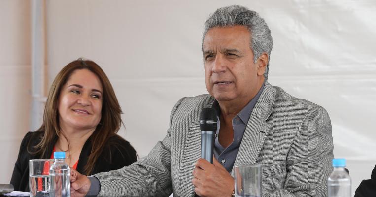Irina Cabezas y Lenín Moreno en Quito, el 19 de julio de 2017.