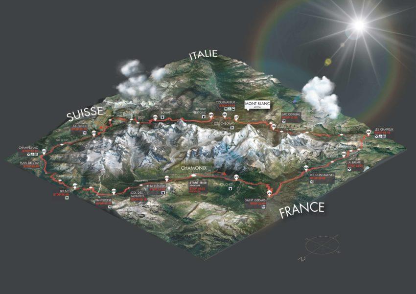 Trayecto del UTMB. Los deportistas recorren alrededor del macizo de Mont Blanc en Francia, Italia y Suiza.