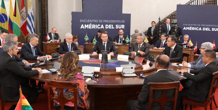 Encuentro de Presidentes de América del Sur 2019, en Chile, el 22 de marzo. Ahí acordaron el nacimiento del bloque PROSUR.