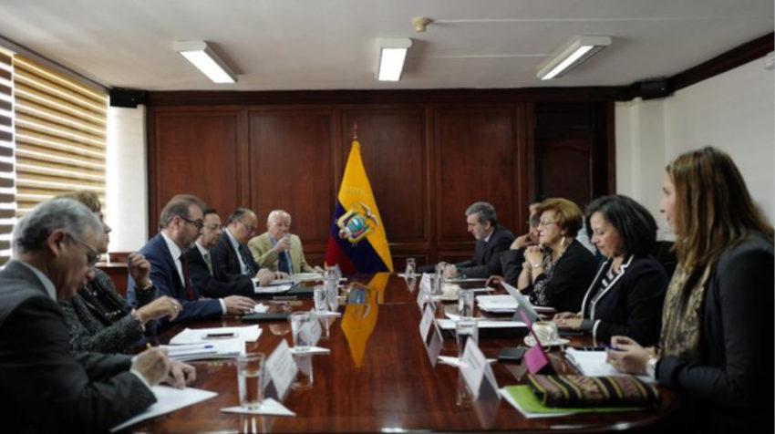 La CIDH en reunión con funcionarios de la Cancillería, el 28 de octubre de 2019.
