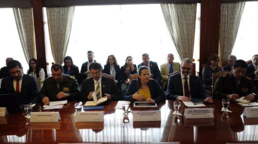 La CIDH en reunión con la ministra de Gobierno, María Paula Romo, el 28 de octubre de 2019.