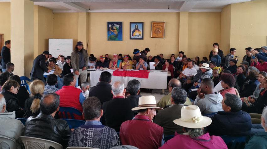 El Parlamento Popular instaló su sesión en Quito, en la casa de la Conaie, el 25 de octubre de 2019.