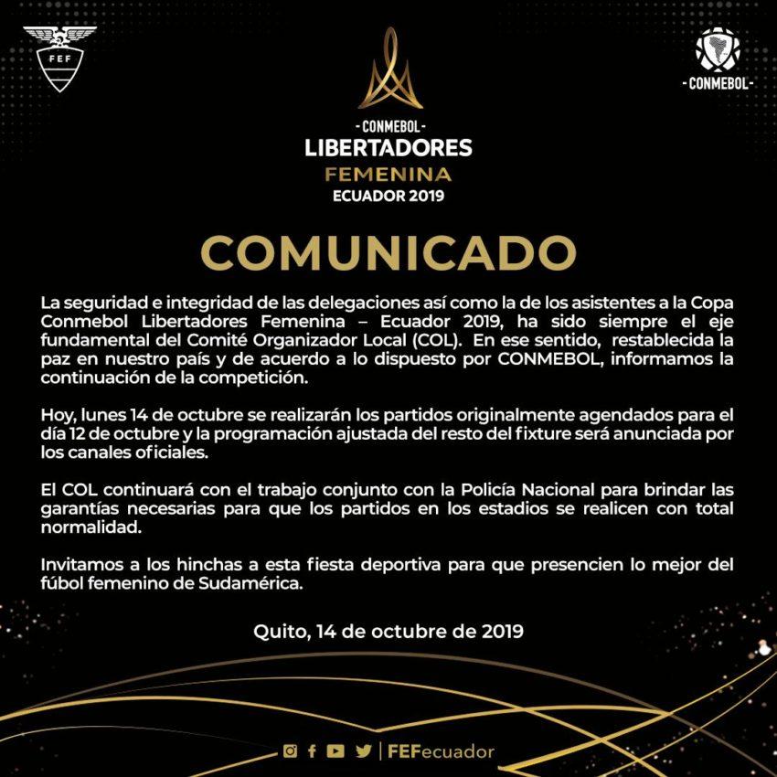 Comunicado Copa Libertadores femenina