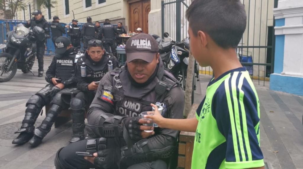 La manifestación mostró la otra cara del Centro Histórico de Quito