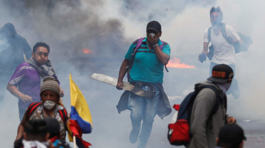 Protests against Ecuador's President Lenin Moreno's austerity measures, in Quito