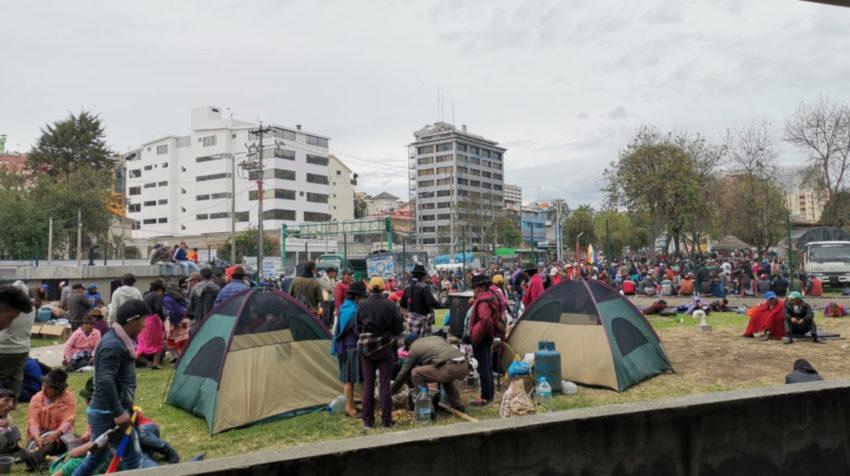 El movimiento indígena instalado en la Casa de la Cultura en Quito, el 8 de octubre de 2019.