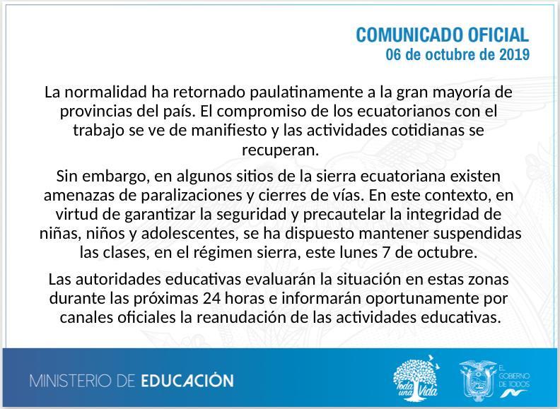 Comunicado del Ministerio de Educación.