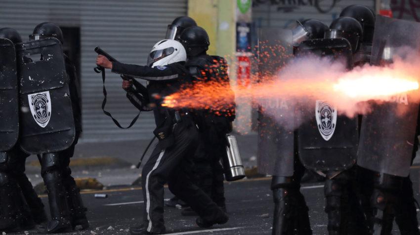 Protestas en el Centro Histórico de Quito, el 4 de octubre del 2019.