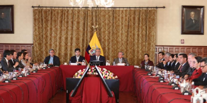 El presidente Lenín Moreno se reunió con los ministros este 3 de octubre.