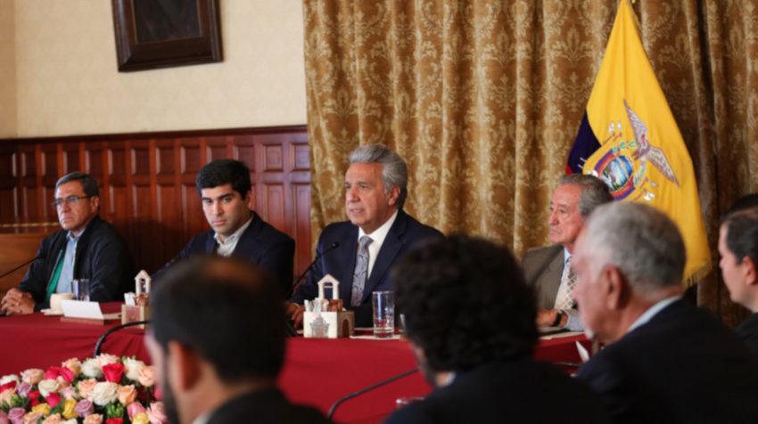 El presidente Lenín Moreno anunció el decreto de estado de excepción desde el Salón Amarillo de Carondelet.