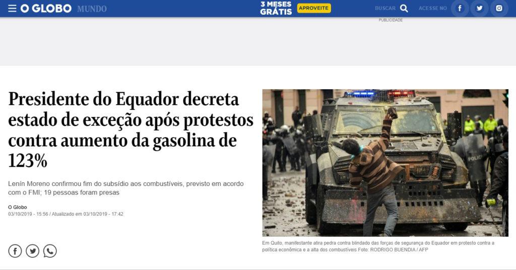 Ecuador, los subsidios y el paro en las principales portadas de Iberoamérica