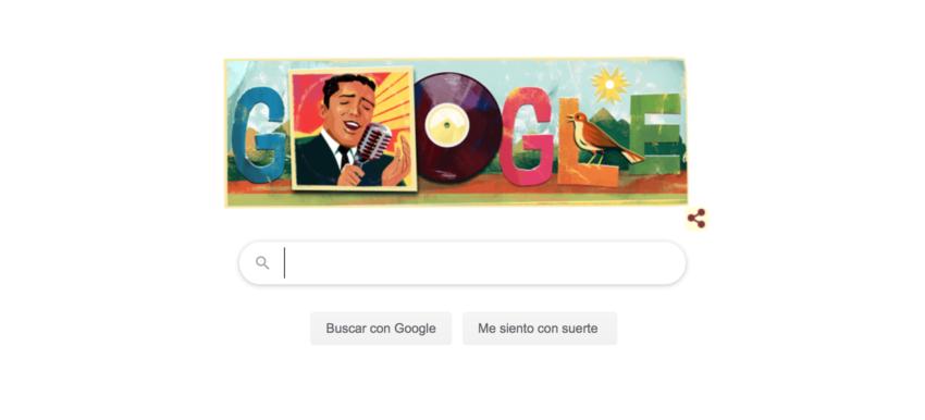 El Doodle de Google que celebra los 84 años de Julio Jaramillo.