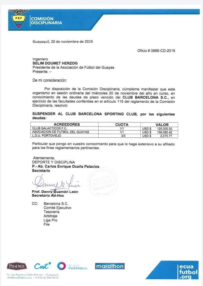 Barcelona suspendido