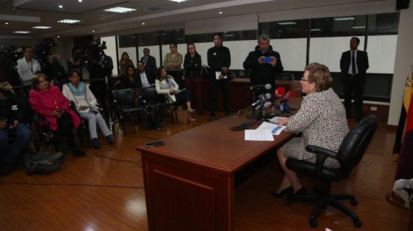 La presidenta de la Corte Nacional de Justicia, Paulina Aguirre, sobre la nueva conformación del organismo, el 21 de noviembre de 2019.