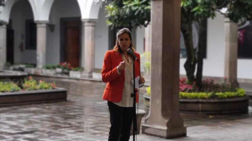La ministra de Gobierno, María Paula Romo, en el Palacio de Gobierno, el 12 de noviembre de 2019.