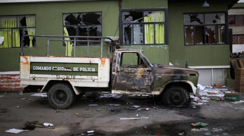 Destrozos por las protestas en El Alto