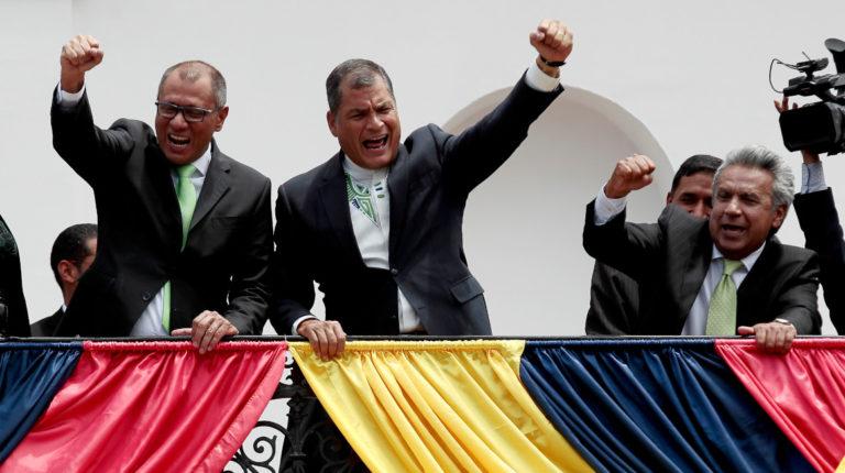 El 3 de abril de 2017, Jorge Glas, Rafael Correa y Lenín Moreno celebraron la victoria electoral de Alianza País en las presidenciales.