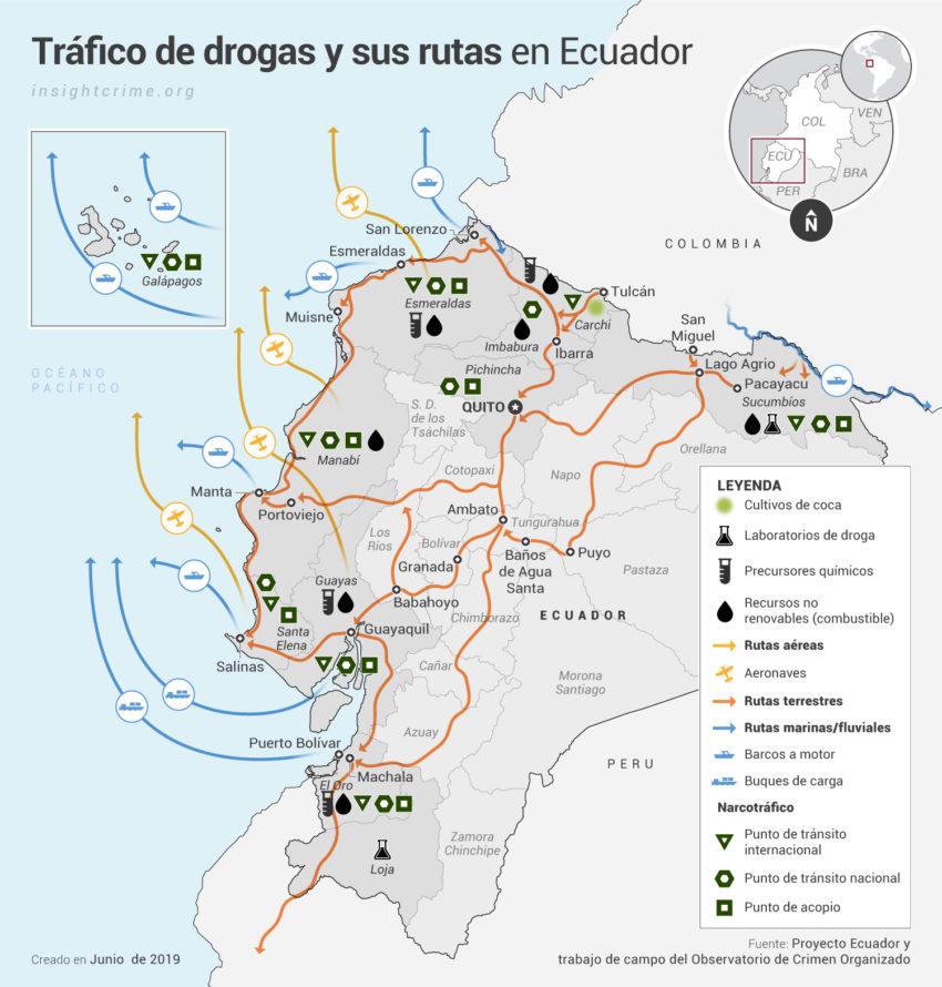 Ecuador Rutas y economias criminales Map InSight Crime 14 06 2019