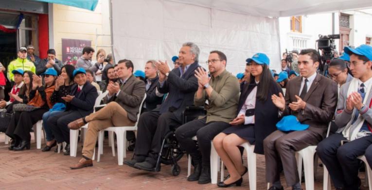 Juan Sebastián Roldán, secretario general de gabinete, Lenín Moreno, presidente y Juan Fernando Velasco, ministro de Cultura y Patrimonio participaron en el lanzamiento del proyecto.