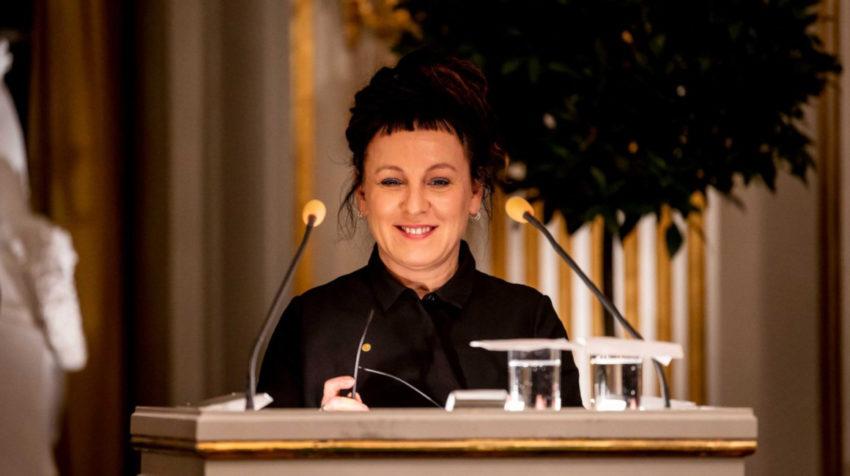 Olga Tokarczuk, durante su discurso en la Academia Sueca de Estocolmo, este 7 de diciembre de 2019.