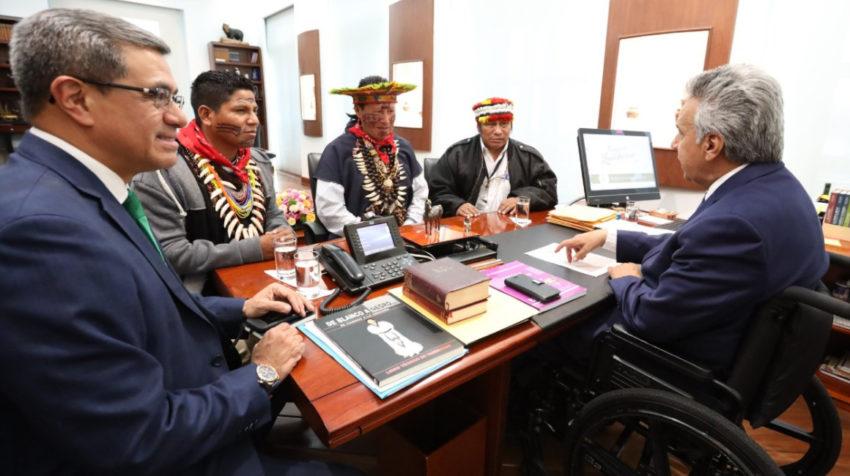 El presidente Moreno, en Carondelet. con líderes amazónicos, el 30 de octubre de 2019.