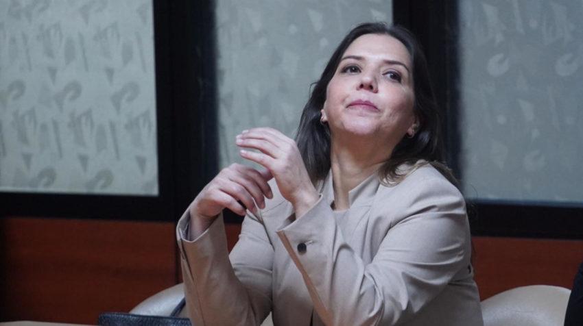 María Alejandra vicuña durante la lectura de la sentencia.