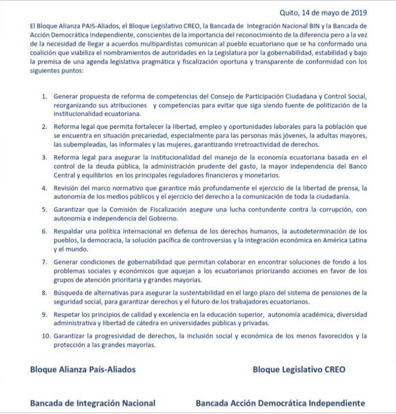 Acuerdo multipartidista firmado en al Asamblea Nacional el 14 de mayo de 2019.