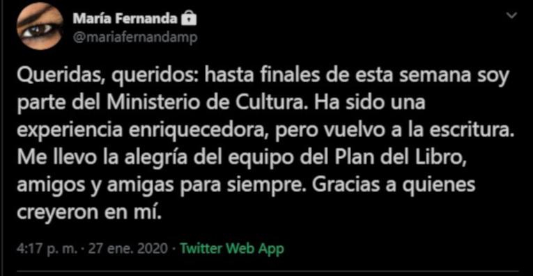 Tuit en el que María Fernanda Ampuero anuncia su saluda del Plan Nacional de Lectura